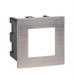 LED Indoor / Outdoor Square Recessed Wall Light White, Brushed Chrome IP65