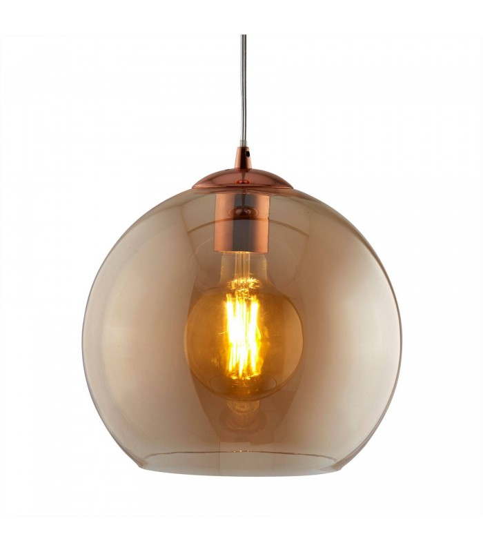 1 Light Dome Ceiling Pendant Antique Brass, Amber, Glass