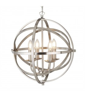4 Light Spherical Ceiling Pendant Satin Silver