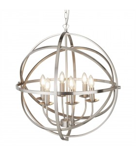 6 Light Spherical Ceiling Pendant Satin Silver