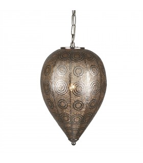 1 Light Moroccan Ceiling Drop Pendant Satin Silver