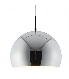 Small Chrome Industrial Pendant With White Inner