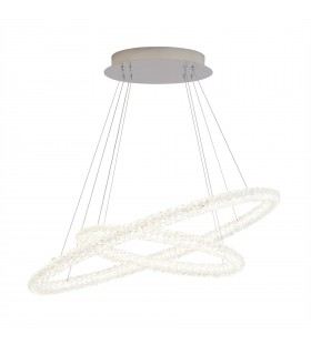 Integrated LED 2 Light Ceiling Pendant Chrome with Glass Crystals