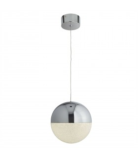 1 Light Ceiling Pendant Chrome, White, Crushed Ice Glass