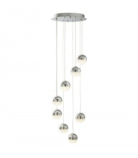 Integrated LED 8 Light Spiral Cluster Pendant Chrome, Crushed Ice Glass