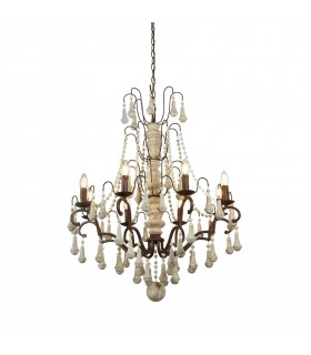 8 Light Chandelier Rustic Brown Finish