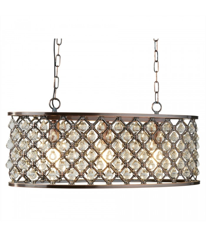 3 Light Oval Ceiling Pendant Bar Copper with Glass Crystals