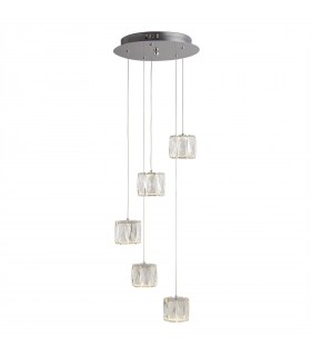 LED 5 Light Spiral Cluster Pendant Chrome Glass