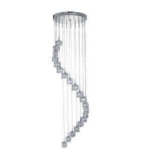LED 20 Light Spiral Cluster Pendant Chrome Glass