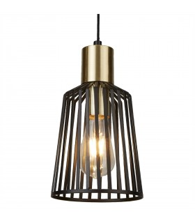 1 Light Cage Ceiling Pendant Antique Brass, Matt Black