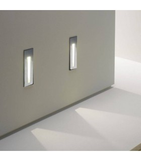 LED 1 Light Indoor Recessed Marker Wall Light Brushed Stainless Steel