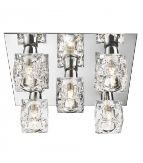 LED 5 Light Flush Ceiling Light Chrome and Glass