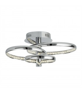 Integrated LED Semi Flush Ceiling Light Chrome