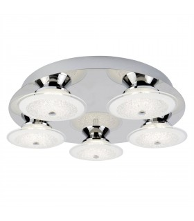 LED 5 Light Semi Flush Ceiling Light Chrome and Glass