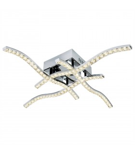 Integrated LED Flush Multi Arm Ceiling Light Chrome, Crystal Glass
