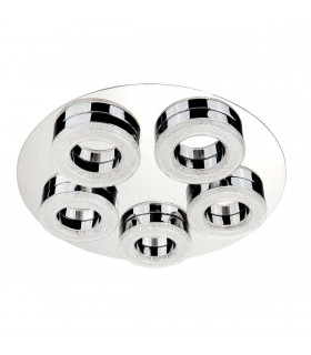 Integrated LED 5 Light Flush Ceiling Light Chrome, White and Glass