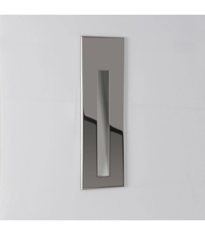LED 1 Light Bathroom Recessed Wall Light Polished Stainless Steel IP65