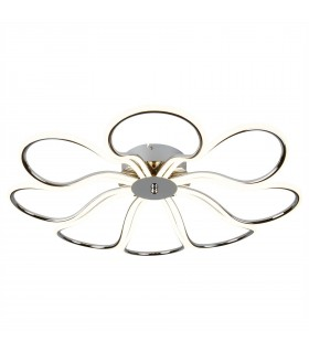 Integrated LED 8 Light Small Flush Ceiling Light Chrome, White