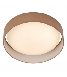 1 Light Round LED Flush Fitting With Brown Shade
