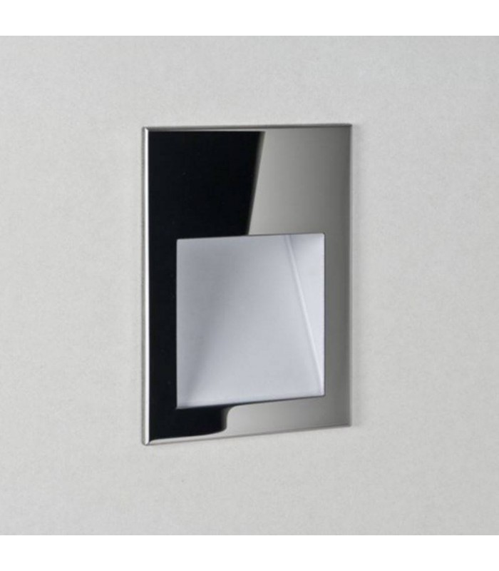 LED 1 Light Indoor Recessed Marker Wall Light Polished Stainless Steel IP65