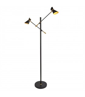 LED 2 Light Floor Lamp Matt Black, Gold