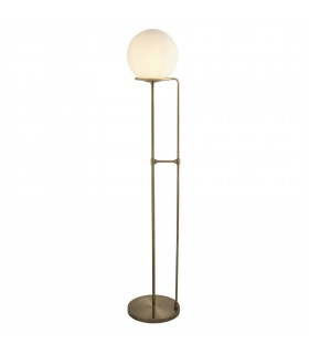 1 Light Floor Lamp White, Antique Brass with Glass Shade, E27