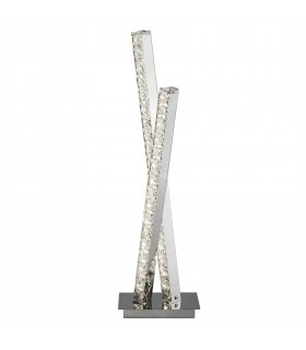 LED 2 Light Table Lamp Chrome with Crystal Glass