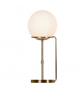 1 Light Table Globe Lamp White, Antique Brass with Glass Shade