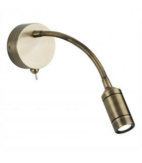 LED 1 Light Indoor Adjustable Wall Reading Light Antique Brass