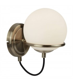 1 Light Wall Light White, Antique Brass with Glass Shade