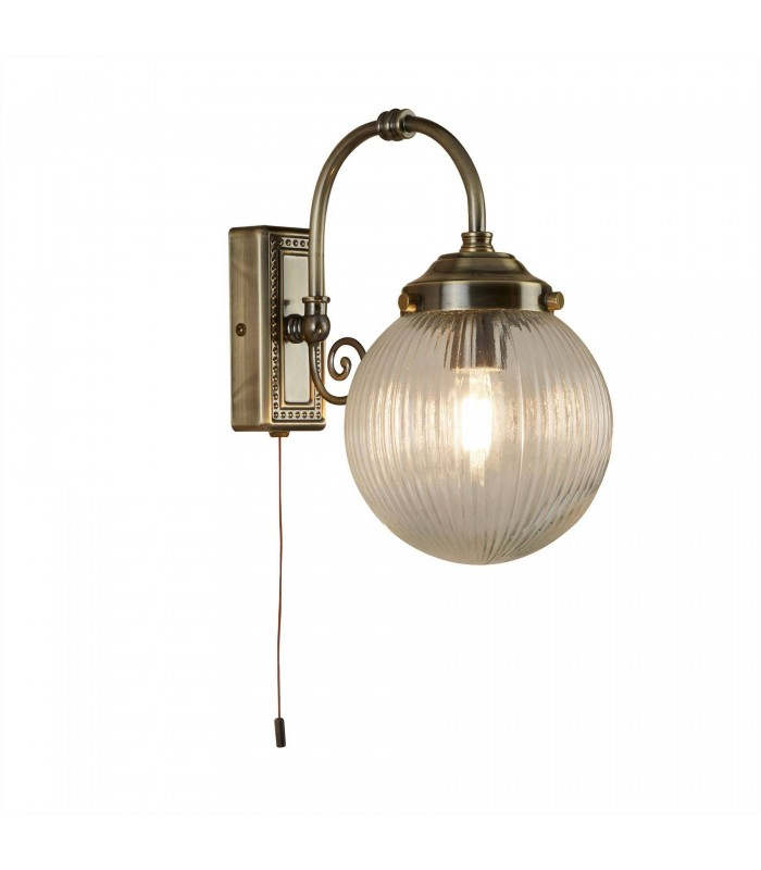 Antique Brass Single Bathroom Wall Light With Ribbed Glass