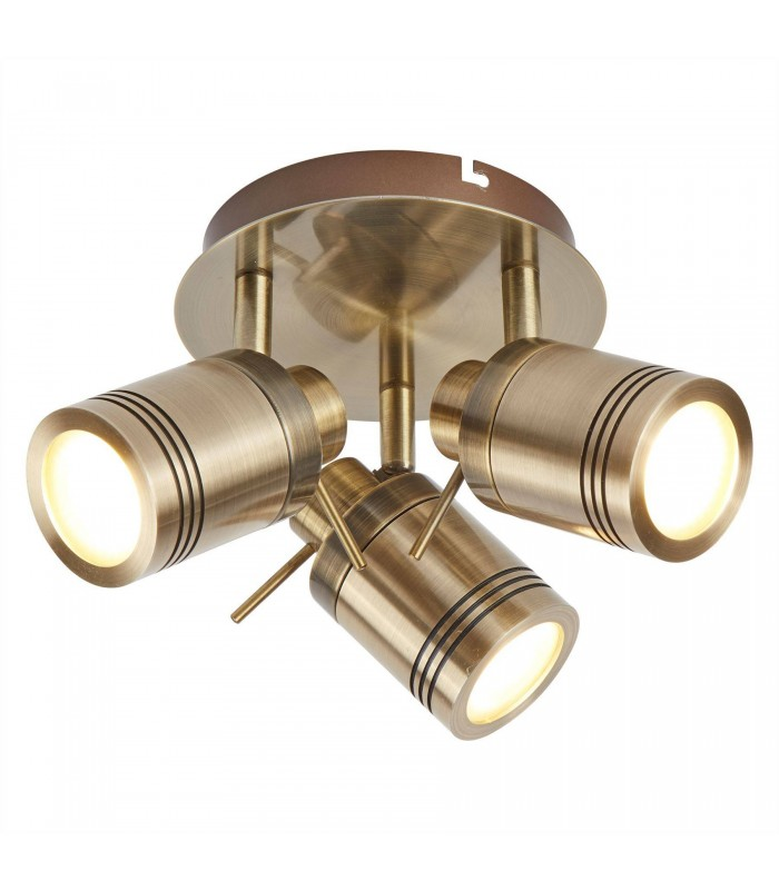 3 Light Bathroom Ceiling Spotlight Antique Brass IP44