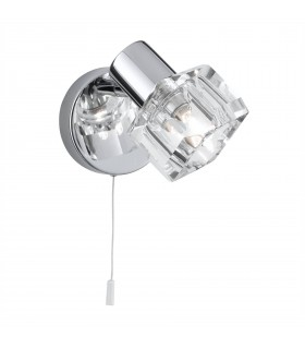 LED 1 Light Glass Shade Wall Light Chrome