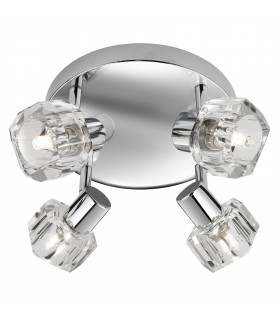 Triton LED Chrome And Glass Four Light Plate Spotlight - Searchlight 3764CC-LED