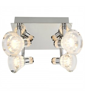 LED 4 Light Ceiling Spotlight Chrome, Clear