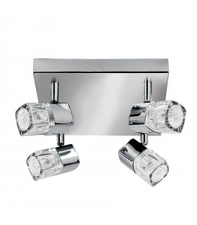 Integrated LED 4 Light Spotlight Chrome, Clear and Glass