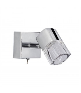 LED 1 Light Indoor Glass Wall Light Chrome, Clear