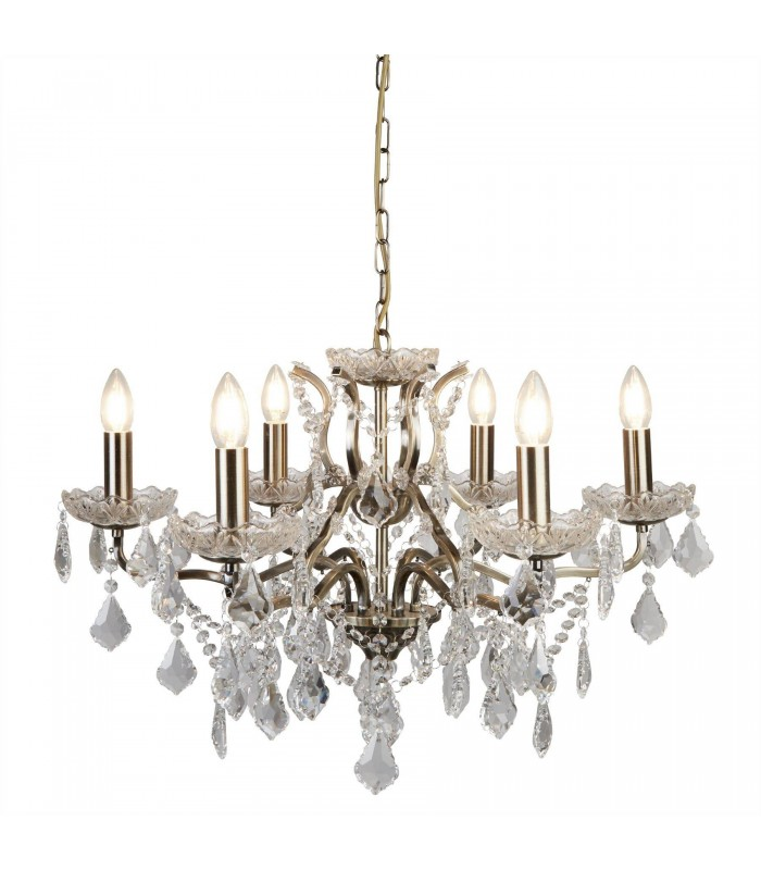 6 Light Chandelier Antique Brass Finish