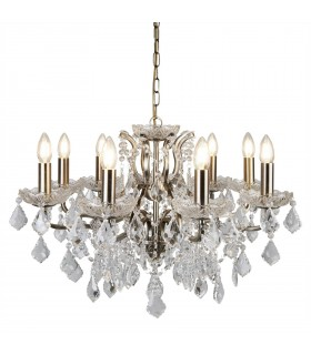 Antique Brass And Crystal Glass Eight Light Chandelier