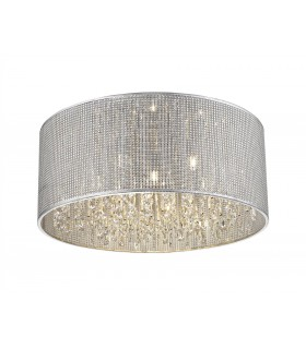 6 Light Small Flush Ceiling Light Silver, Crystal Glass