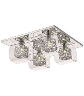 4 Light Flush Ceiling Light Mesh Chrome, Clear and Glass, G9