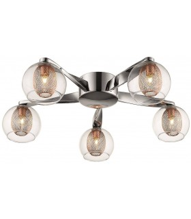 Chrome And Copper Five Light Flush Fitting