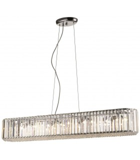 8 Light Large Ceiling Pendant Chrome, Clear with Crystals