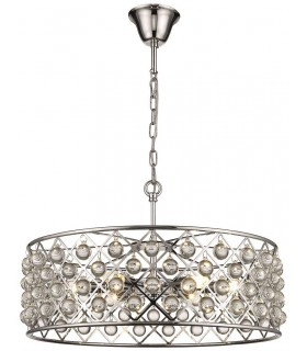 6 Light Large Ceiling Pendant Chrome, Clear with Crystals