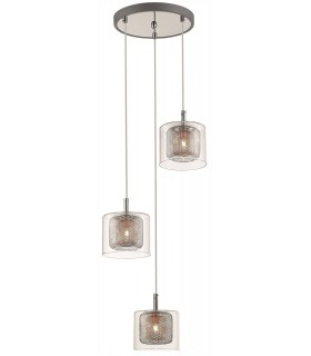 Chrome And Copper Three Light Pendant With Glass