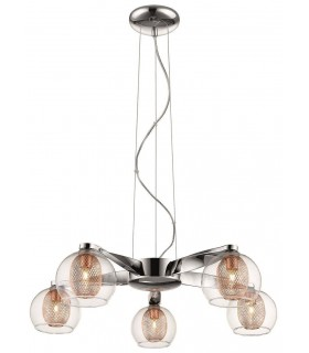 Liverpool Chrome And Copper Five Light Pendant - Spring Lighting DBOP057DQ5EFDP