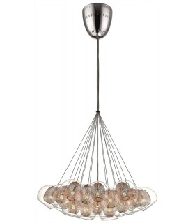 19 Light Cluster Pendant Mesh Chrome, Copper