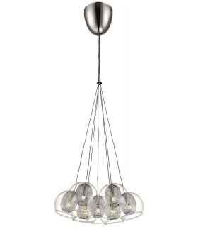 7 Light Cluster Pendant Mesh Chrome, Clear