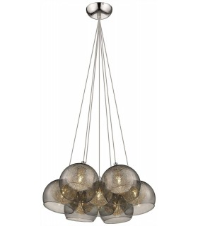 7 Light Cluster Pendant Chrome, Smoked grey with Glass Shades