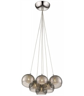 6 Light Cluster Pendant Chrome, Smoked grey with Glass Shades